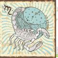 Signe de zodiaque de scorpion carte d horoscope de vintage 40566130